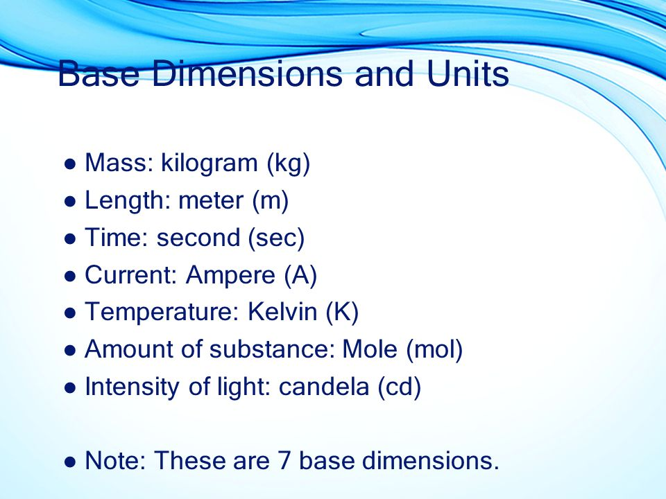 Base Dimensions and Units