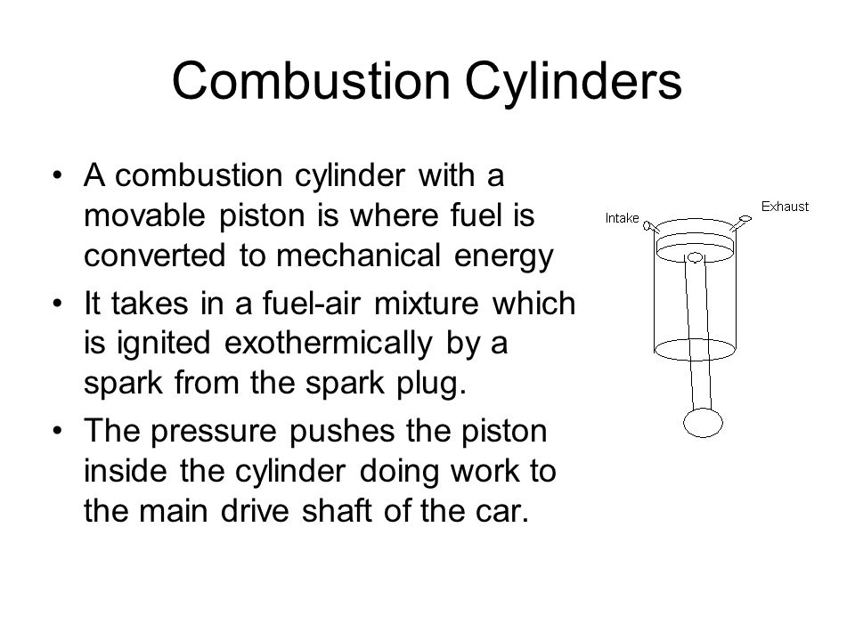Combustion Cylinders A combustion cylinder with a movable piston is where fuel is converted to mechanical energy.