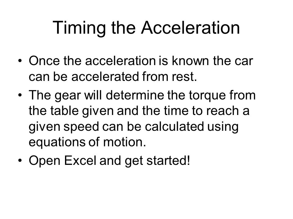 Timing the Acceleration