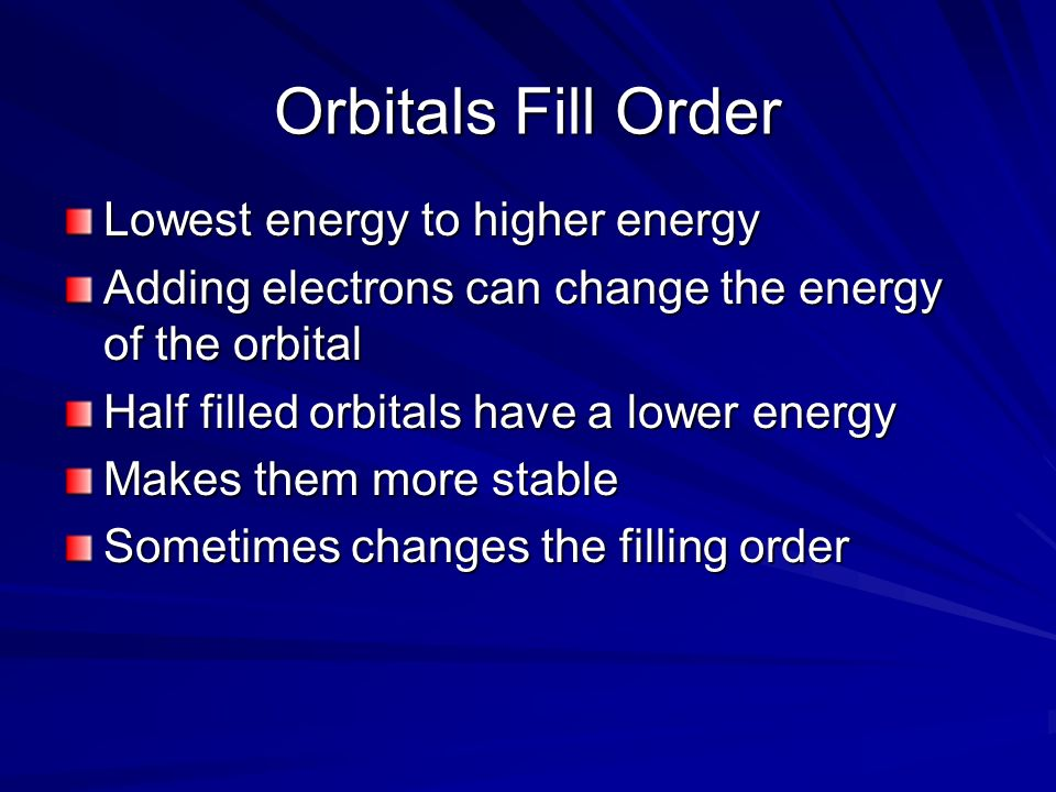 Orbitals Fill Order Lowest energy to higher energy