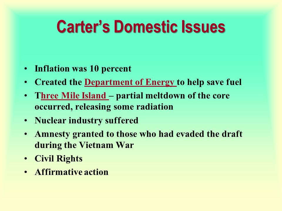 Carter's Domestic Issues