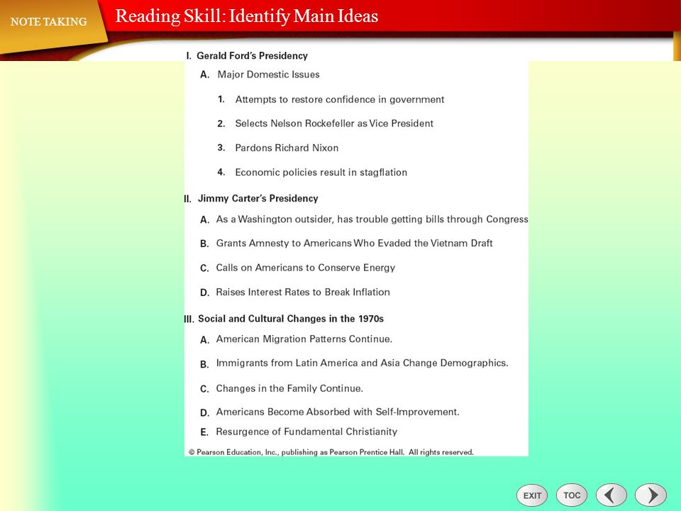 Note Taking: Reading Skill: Identify Main Ideas