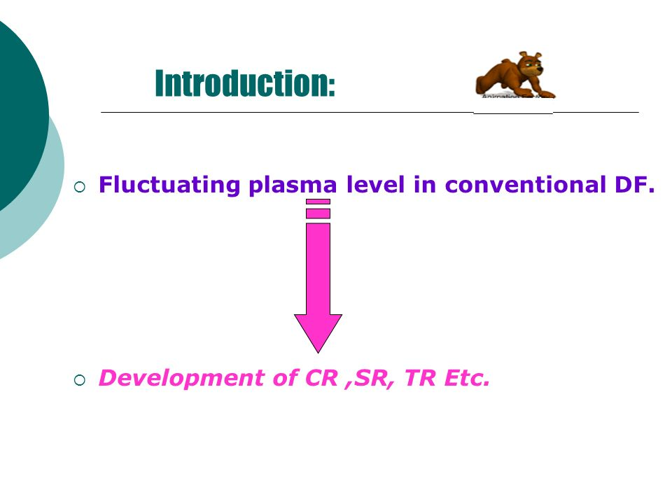 Introduction: Fluctuating plasma level in conventional DF.