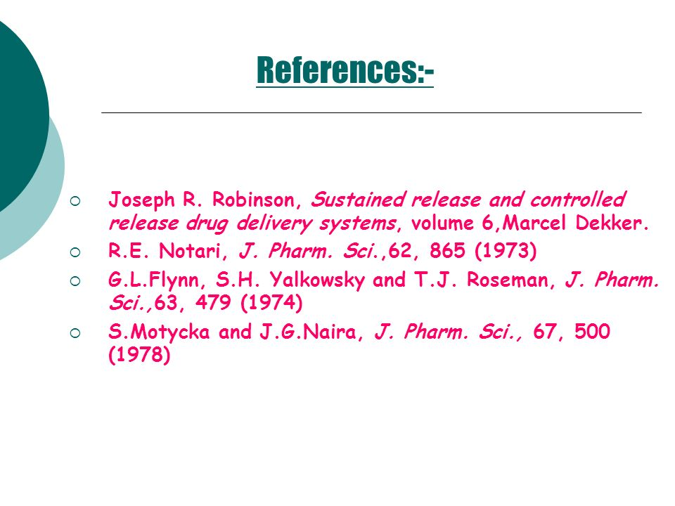 References:- Joseph R. Robinson, Sustained release and controlled release drug delivery systems, volume 6,Marcel Dekker.