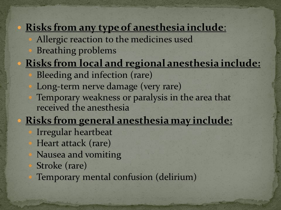 Risks from any type of anesthesia include: