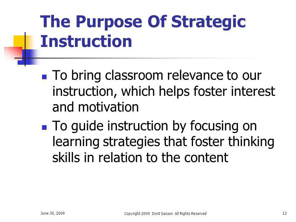 The Purpose Of Strategic Instruction