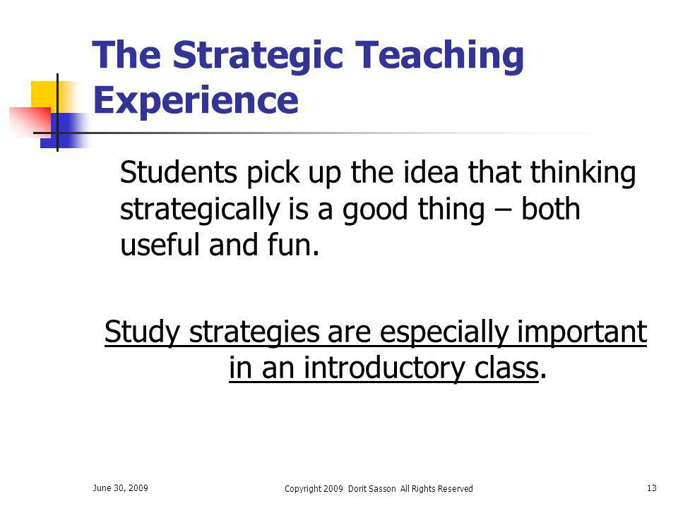 The Strategic Teaching Experience