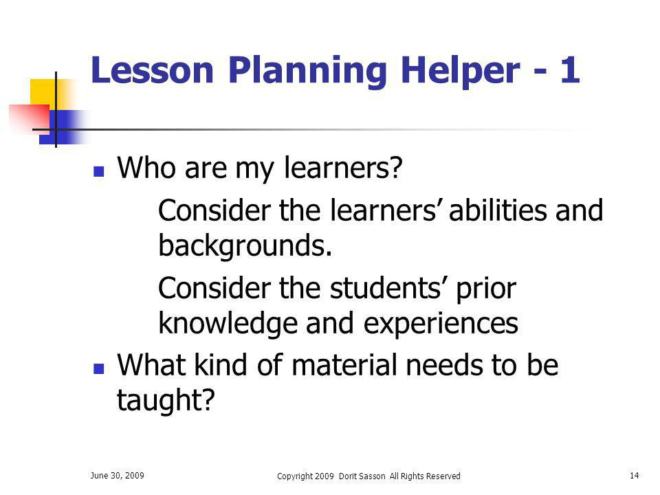 Lesson Planning Helper - 1