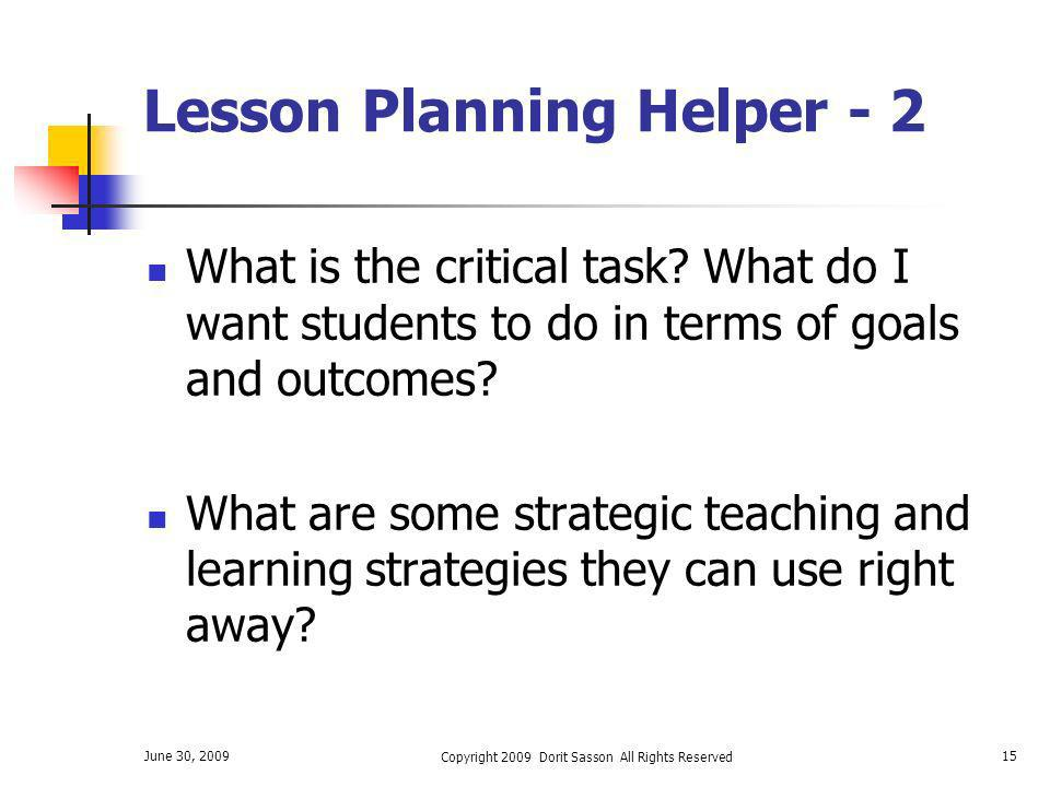 Lesson Planning Helper - 2