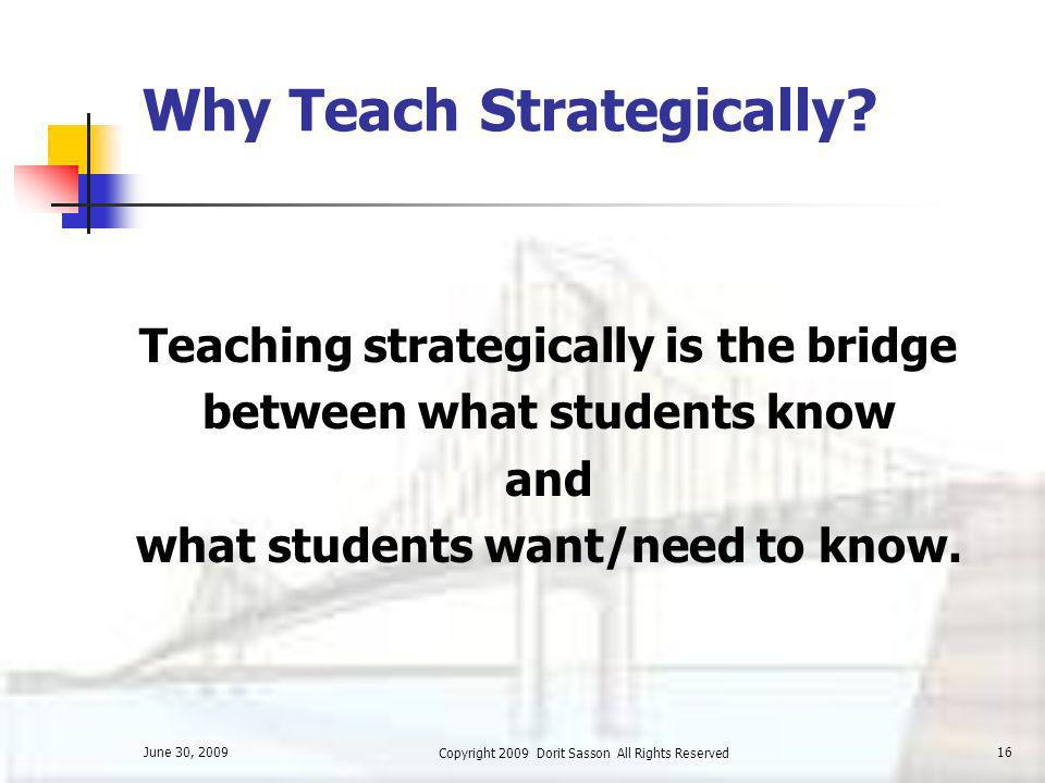 Why Teach Strategically