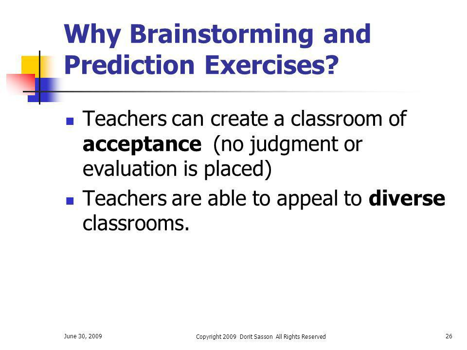 Why Brainstorming and Prediction Exercises