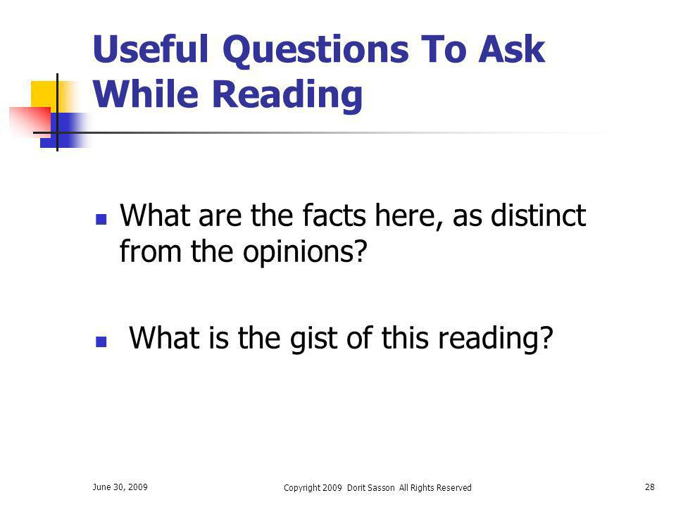 Useful Questions To Ask While Reading