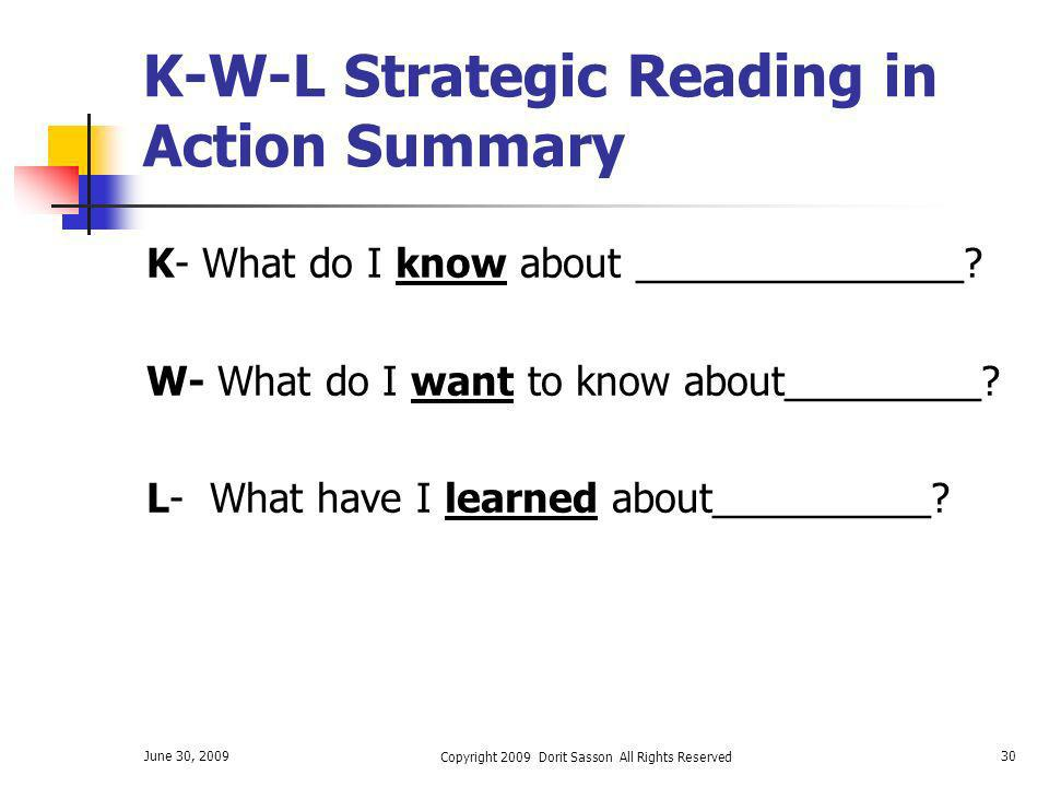 K-W-L Strategic Reading in Action Summary