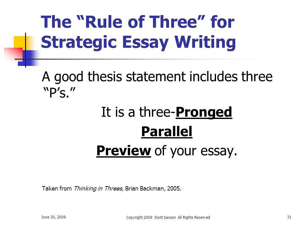 The Rule of Three for Strategic Essay Writing