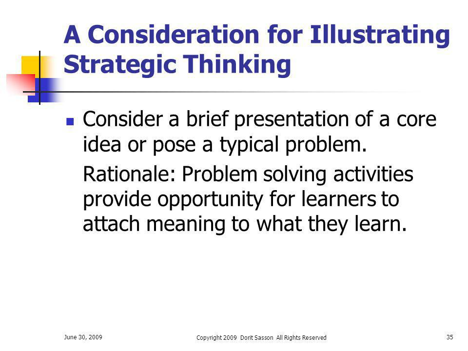 A Consideration for Illustrating Strategic Thinking