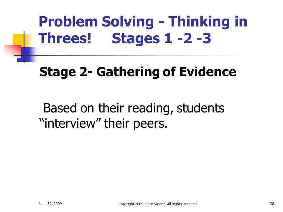 Problem Solving - Thinking in Threes! Stages 1 -2 -3