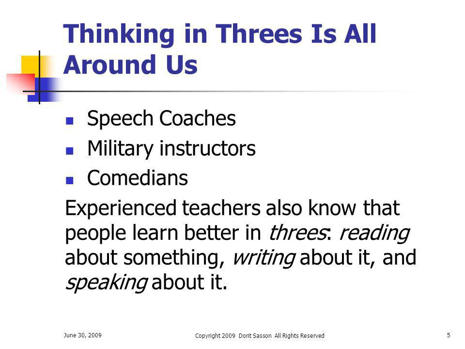 Thinking in Threes Is All Around Us