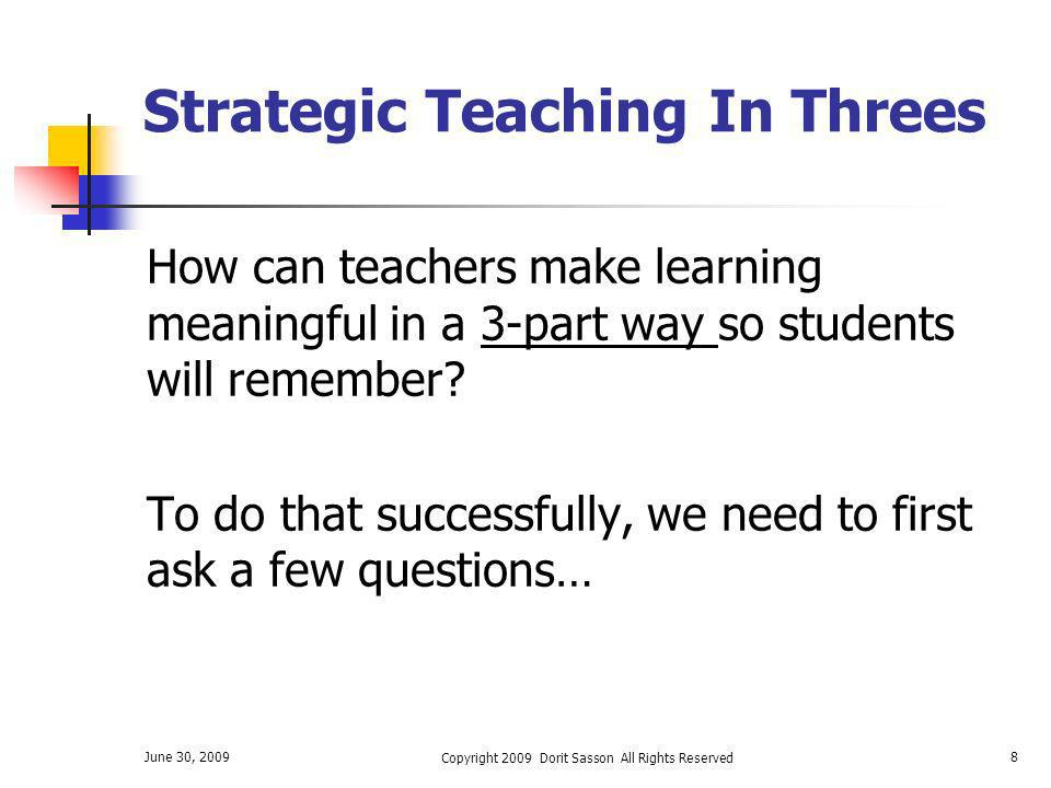 Strategic Teaching In Threes