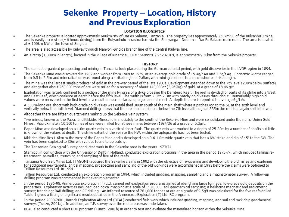 Sekenke Property – Location, History and Previous Exploration