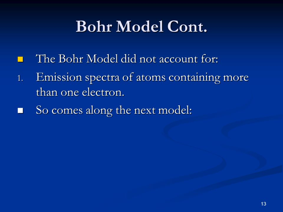 Bohr Model Cont. The Bohr Model did not account for: