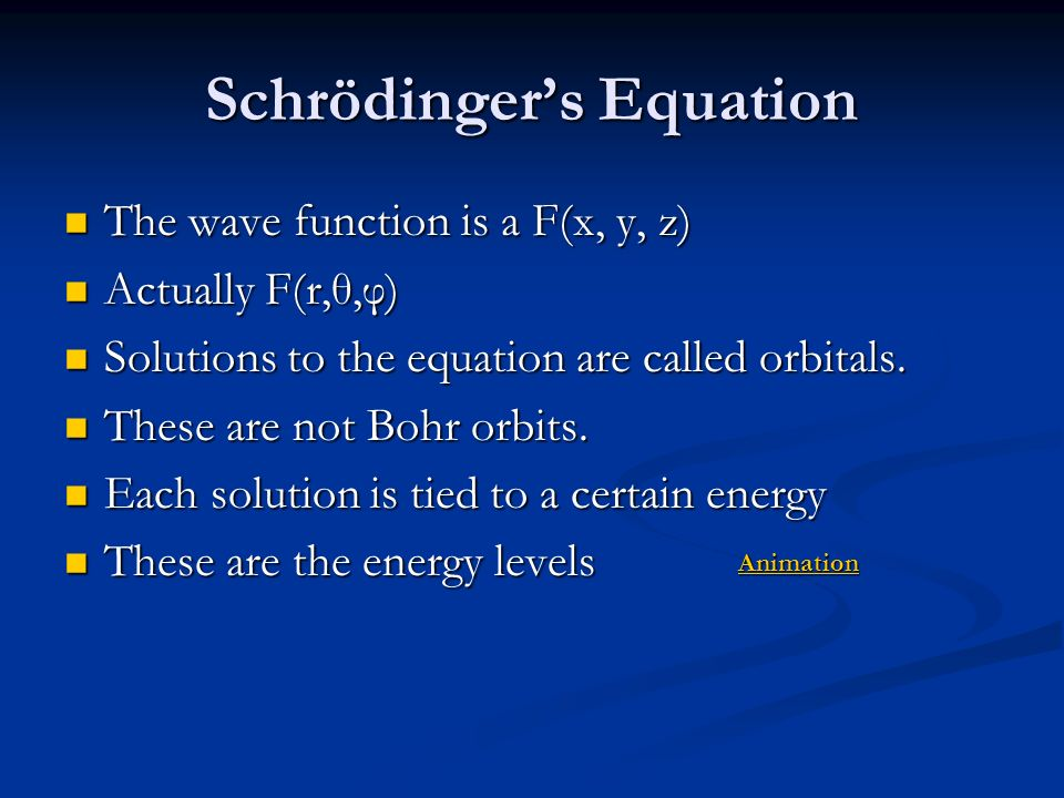 Schrödinger's Equation