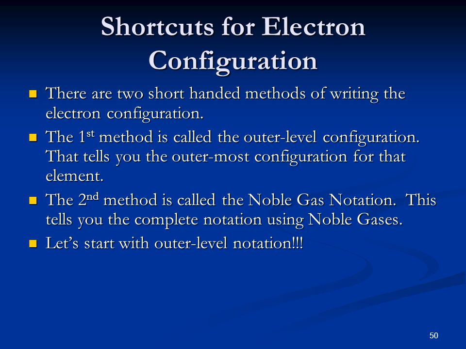 Shortcuts for Electron Configuration