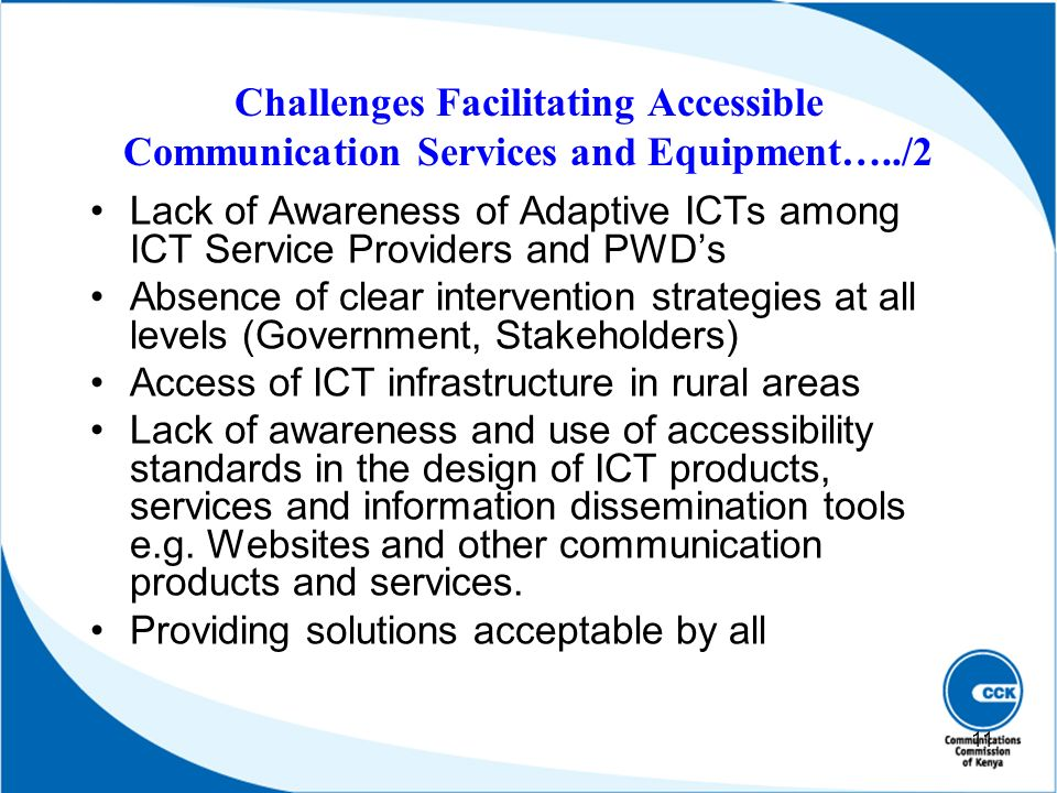 Challenges Facilitating Accessible Communication Services and Equipment…../2