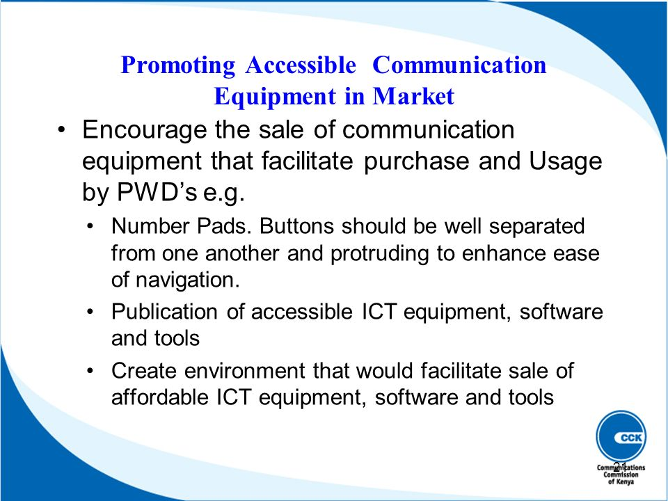 Promoting Accessible Communication Equipment in Market