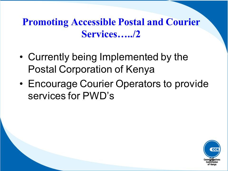 Promoting Accessible Postal and Courier Services…../2