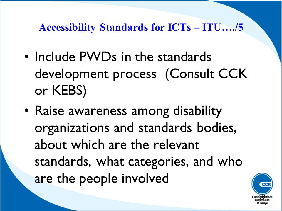 Accessibility Standards for ICTs – ITU…./5