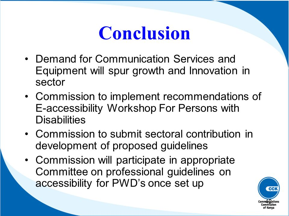 Conclusion Demand for Communication Services and Equipment will spur growth and Innovation in sector.