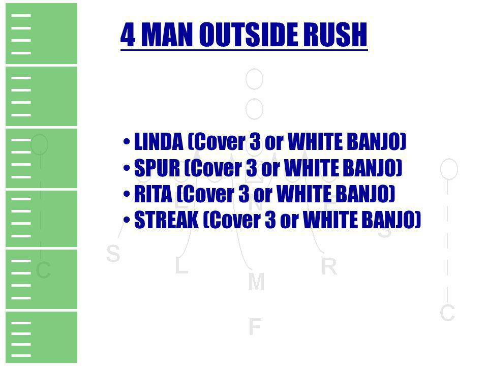 4 MAN OUTSIDE RUSH LINDA (Cover 3 or WHITE BANJO)