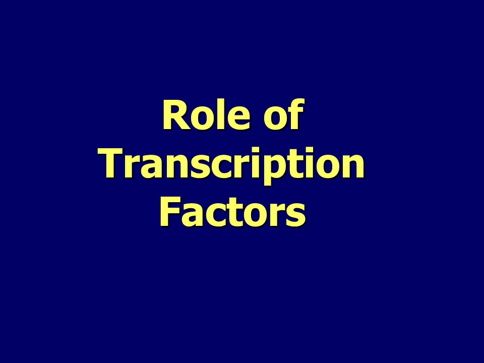 Role of Transcription Factors