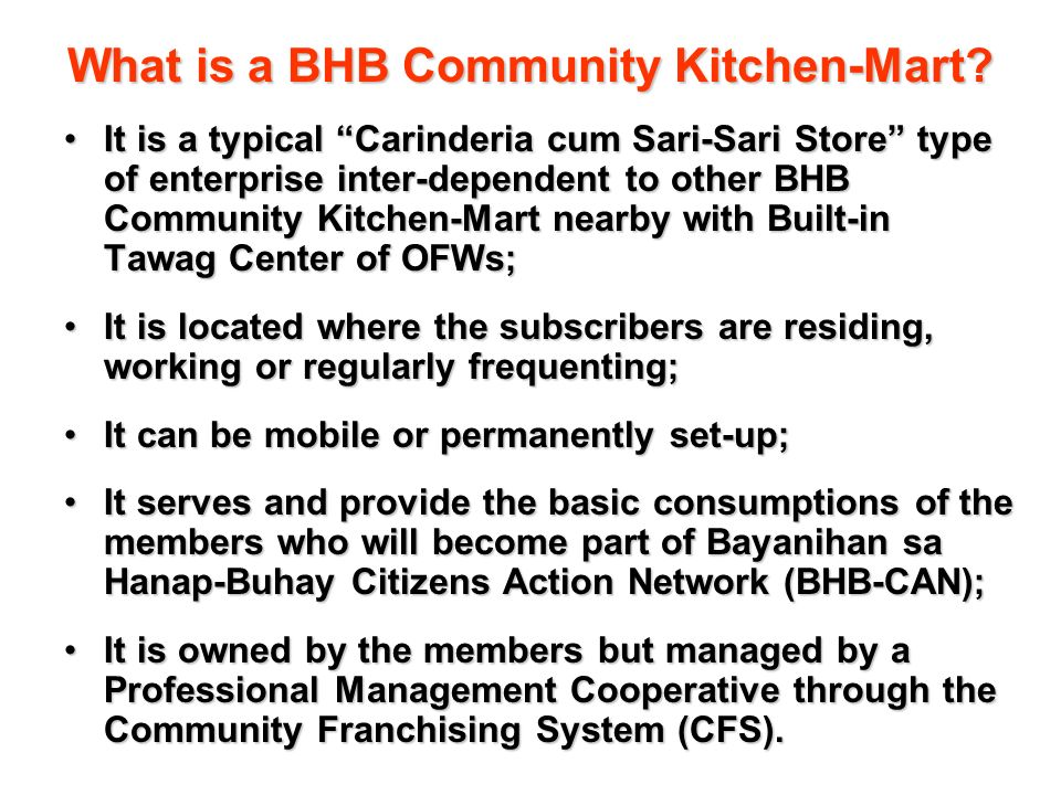 What is a BHB Community Kitchen-Mart