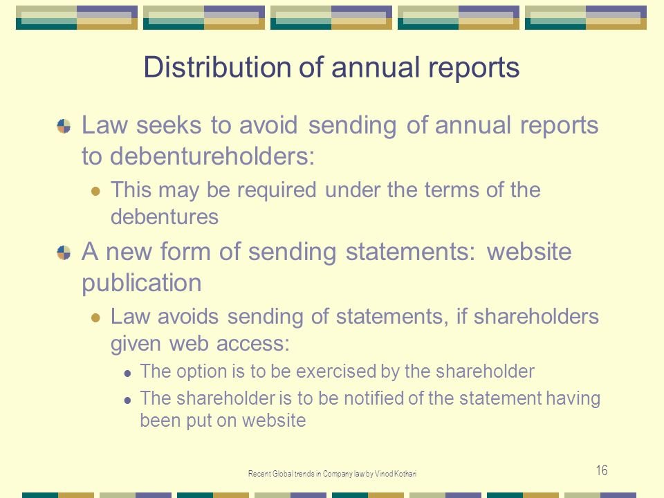 Distribution of annual reports