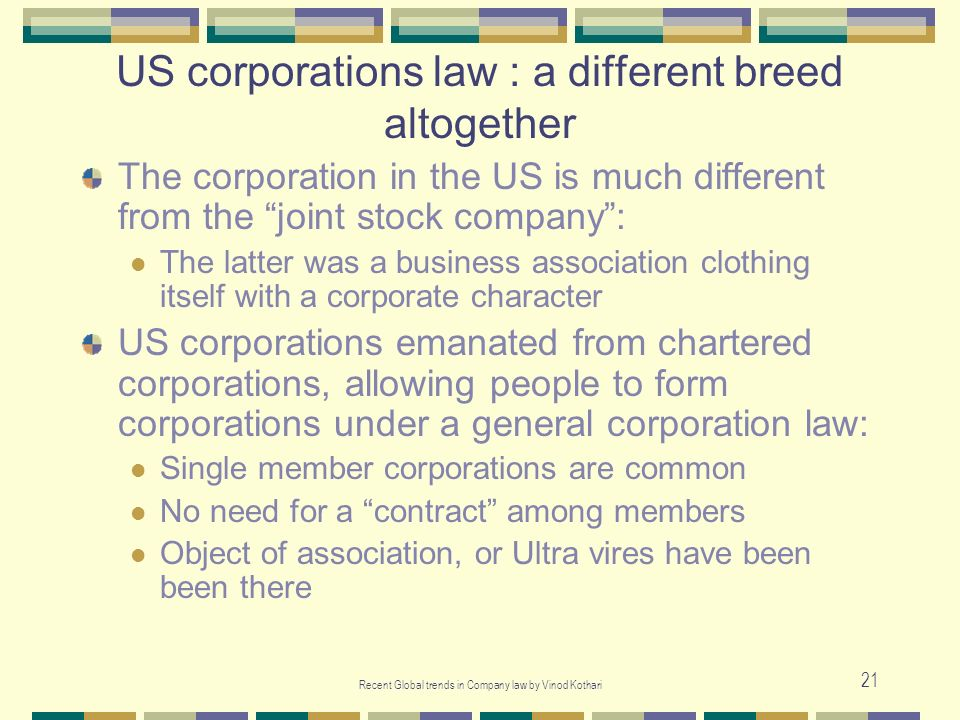 US corporations law : a different breed altogether