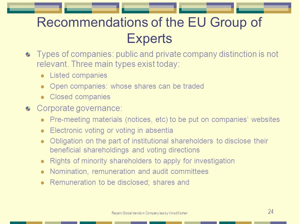 Recommendations of the EU Group of Experts