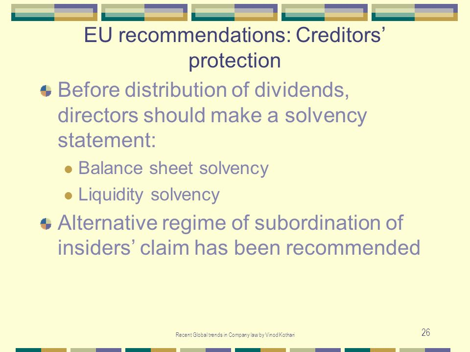 EU recommendations: Creditors' protection