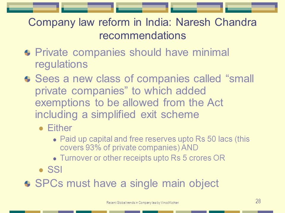 Company law reform in India: Naresh Chandra recommendations