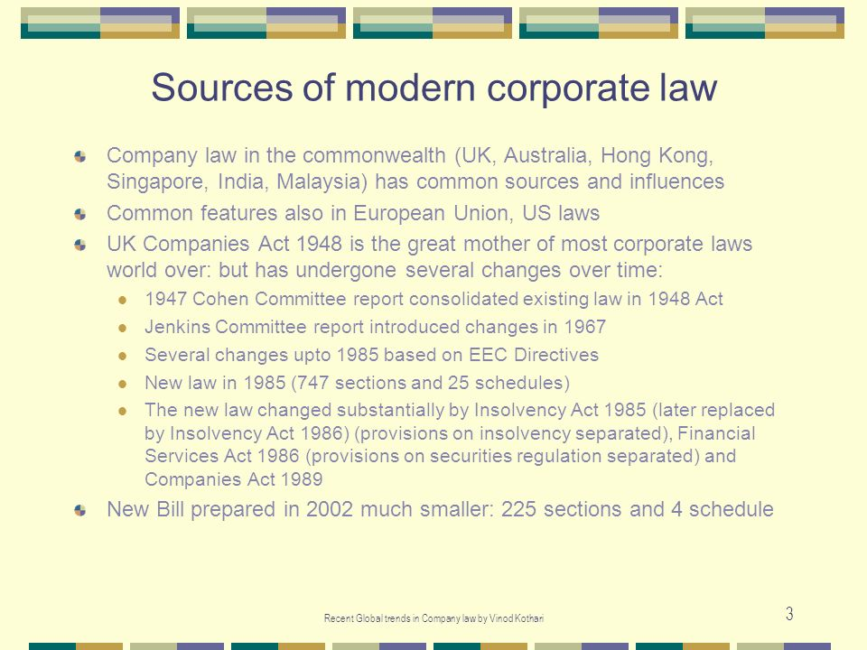 Sources of modern corporate law