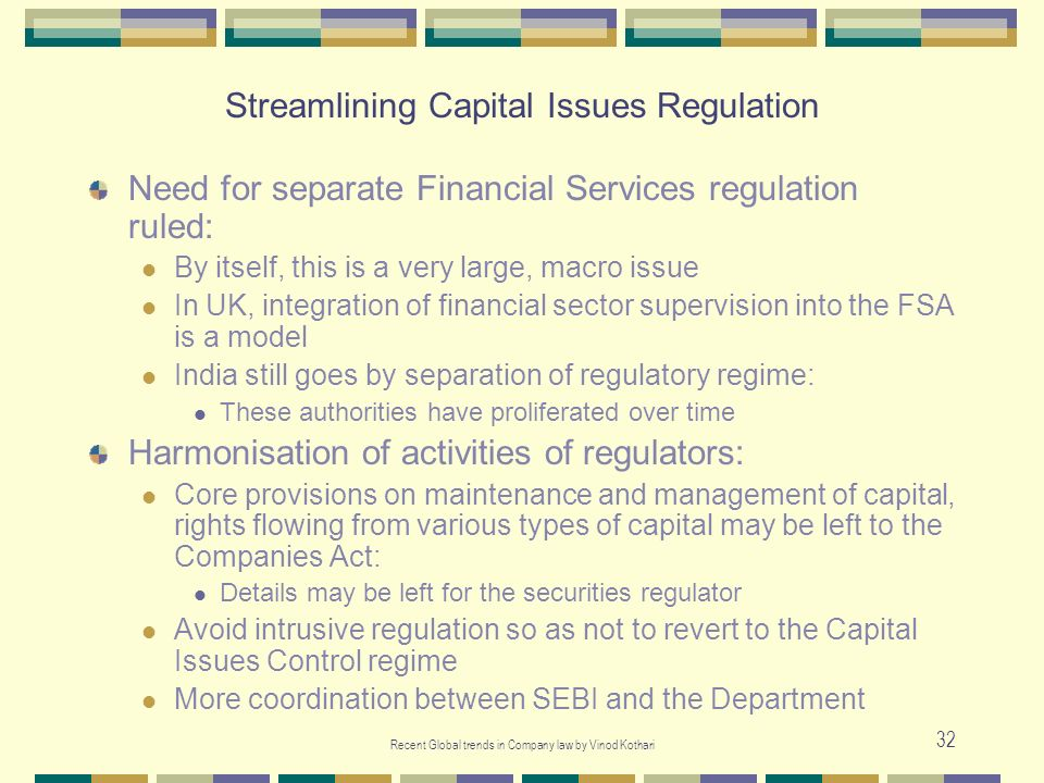 Streamlining Capital Issues Regulation