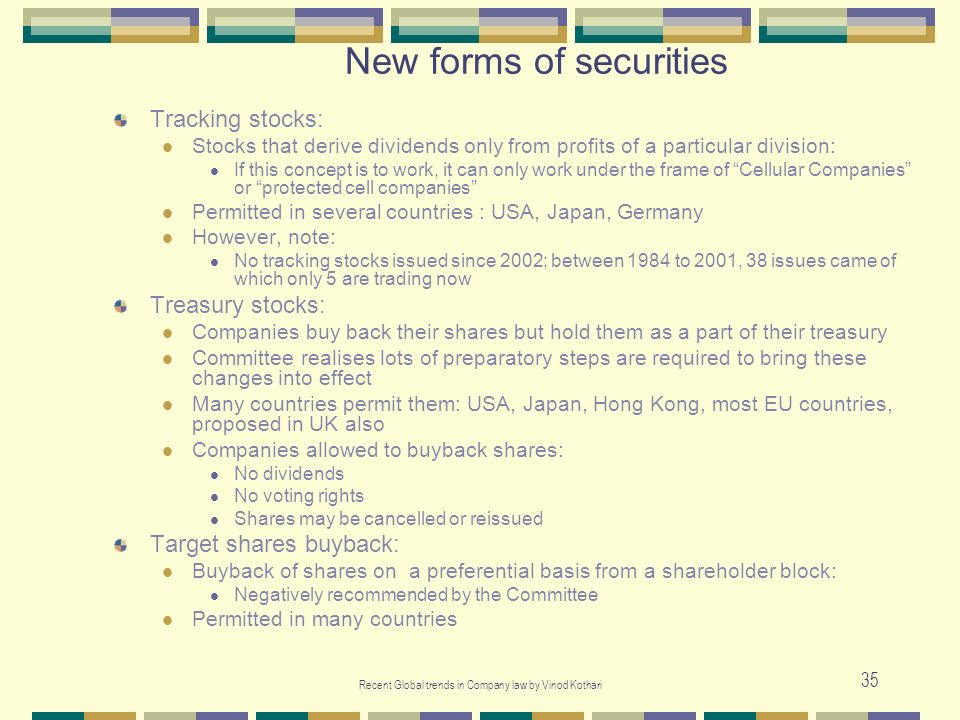New forms of securities