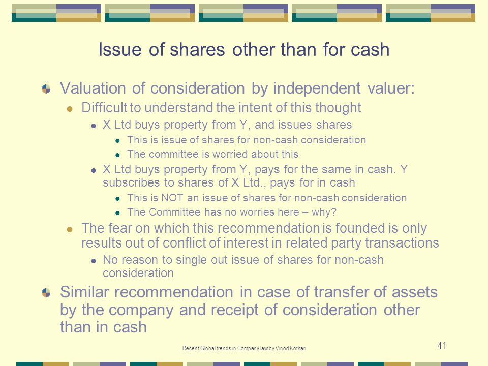Issue of shares other than for cash
