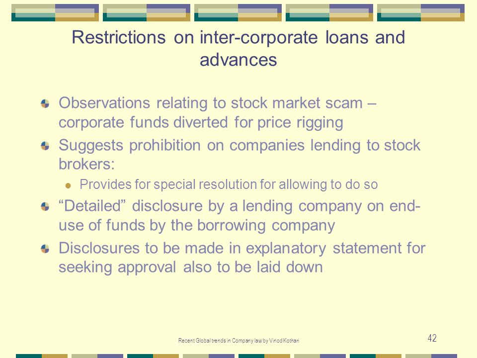 Restrictions on inter-corporate loans and advances
