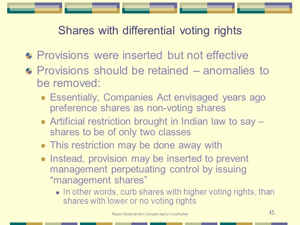 Shares with differential voting rights