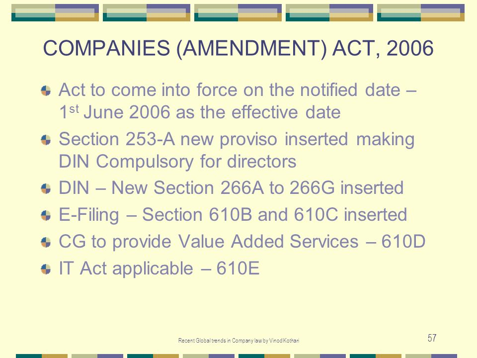 COMPANIES (AMENDMENT) ACT, 2006