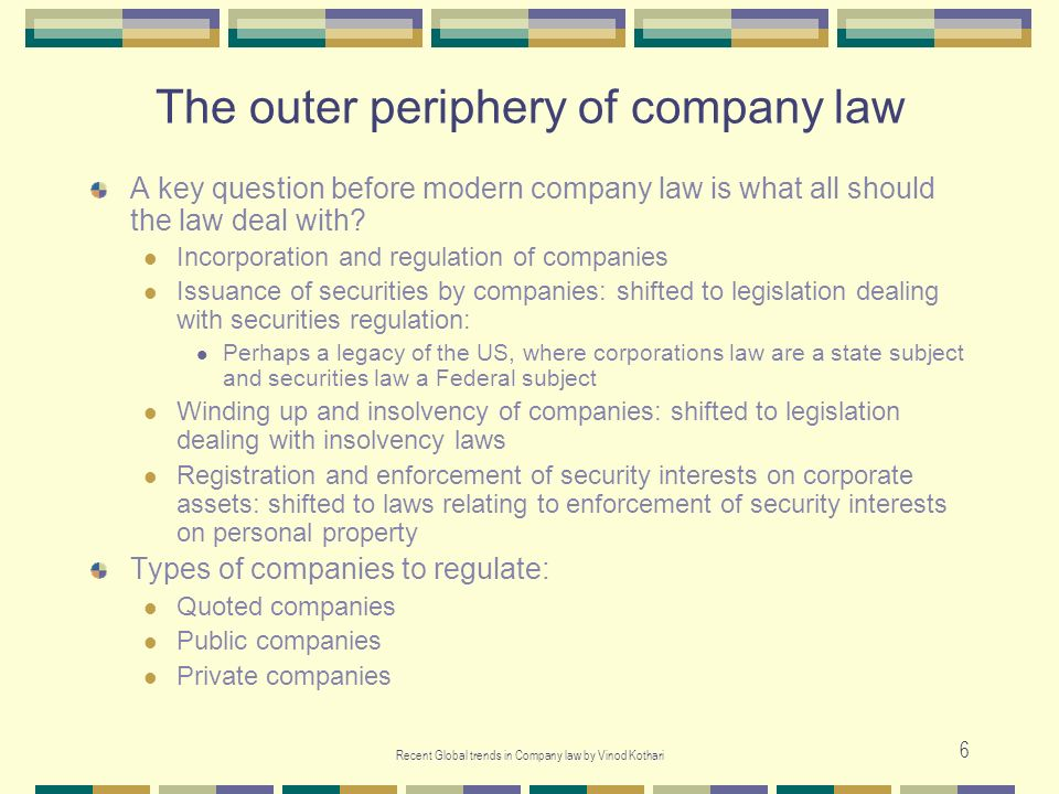 The outer periphery of company law