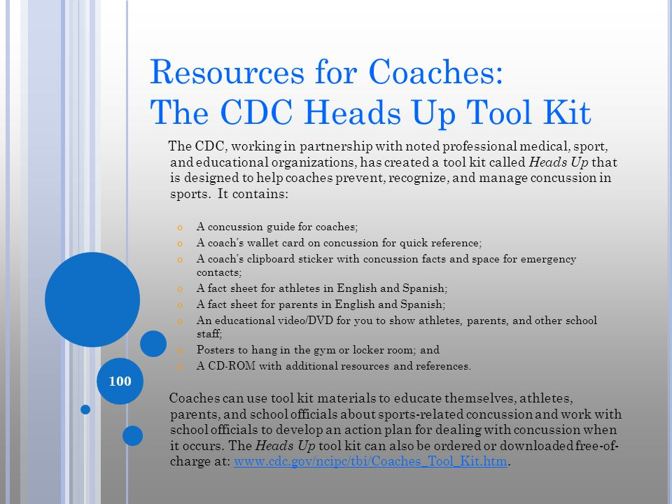 Resources for Coaches: The CDC Heads Up Tool Kit