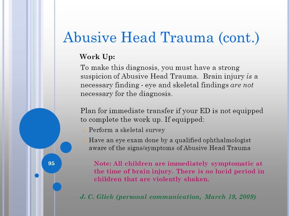 Abusive Head Trauma (cont.)