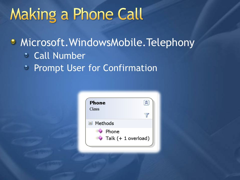 Making a Phone Call Microsoft.WindowsMobile.Telephony Call Number